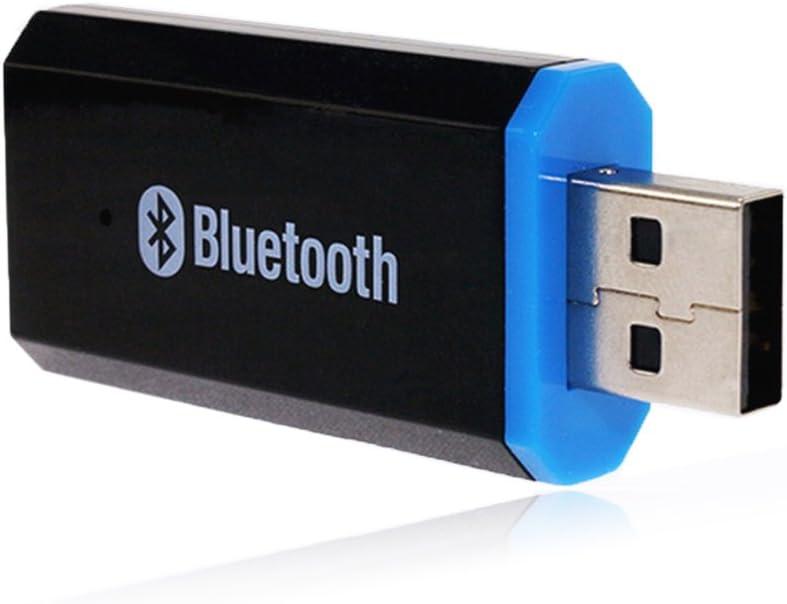 YETOR USB Bluetooth Receptor de música 3,5 mm Salida Estéreo para Altavoces portátiles y Home Sistemas estéreo de Coche Compatible con iOS Android Cualquier teléfono móvil (Negro)