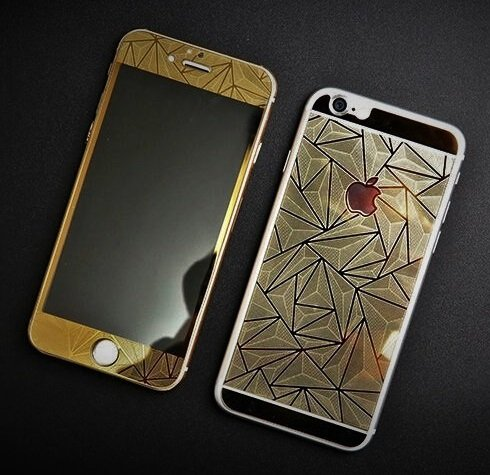 online store 8a292 aa443 Kapa 3D Diamond Pattern Mirror Front + Back Tempered Glass Screen Protector  for Apple Iphone 6 Plus / 6S Plus - Gold
