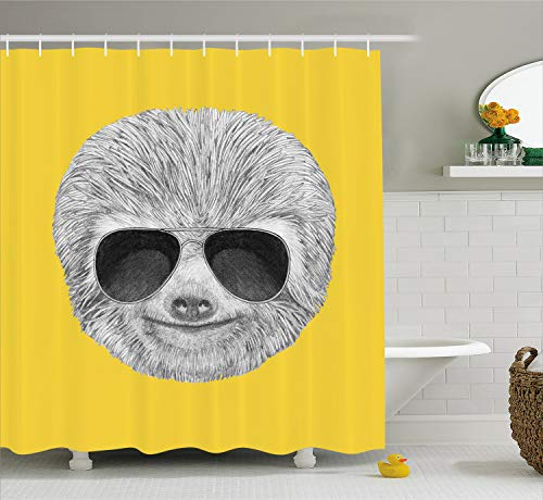 Ambesonne Sloth Shower Curtain, Hipster Jungle Animal with Sunglasses Smiling Funny Expression Cool Character Print, Cloth Fabric Bathroom Decor Set with Hooks, 70