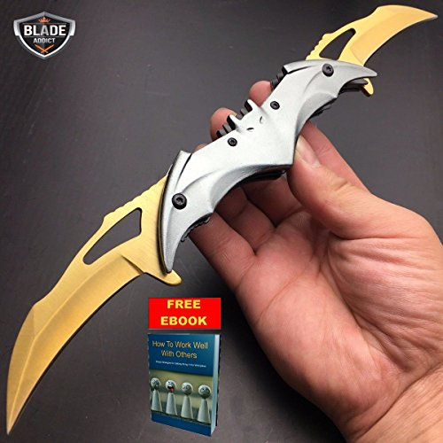 Only US Dark Knight Spring Assisted Open Dual Blade BATMAN Tactical Folding Knife Silver Review