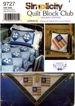 Club Americana - Simplicity 9727 Sewing Pattern Quilt Block Club Americana Flag & Sails on the Horizon Shirly Botsford