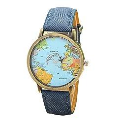Womens Watch, Leegor Global Travel By Plane Map Watch Denim Fabric Band (Blue)