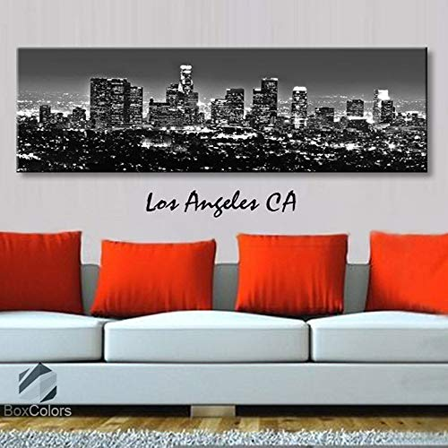 BoxColors - Single panel 3 Size Options Art Canvas Print Los Angeles CA City Skyline Panoramic Downtown Night black & white Wall Home Office decor (framed 1.5