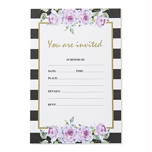 30 Pack Invitations Set with Envelopes, White and Black Strip Floral Wedding Invitation Cards, Bridal Shower, Baby Shower, Reception, Rehearsal Dinner, Birthday Party Invites, 5x7 Inches ()