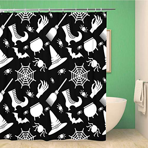Awowee Bathroom Shower Curtain Abstract Halloween Flat Cartoon Cauldron Cobweb Color Dark Geometric 66x72 inches Waterproof Bath Curtain Set with Hooks]()