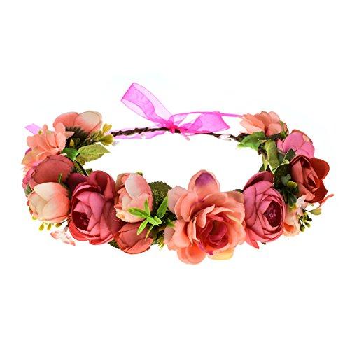 DDazzling Women Flower Headband Wreath Crown Floral Wedding Garland Wedding Festivals Photo Props (C Rose)