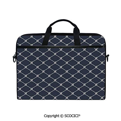 Personalized Laptop Bag 14-15 Inch Messenger Bag Navy Sea Yacht Themed Cool Classic Design in Vertical Rope Artwork Shoulder Sleeve Case Tablet Briefcase