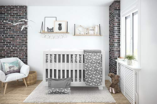 BOOBEYEH & DESIGN Deer Printed Pattern 7 Piece Baby Crib Bedding Sets Includes Fitted Sheet Organic Cotton Mattress & Pillow Cover Nursery Bedding Set for Girls and Boys