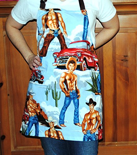 (Handmade Cowboy Pinup Apron Bbq Chef Apron Unisex Alexander Henry)