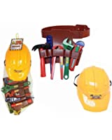 Plastic Construction Helmet Toy Hard Hat Builder Workman Tool Belt With Tools