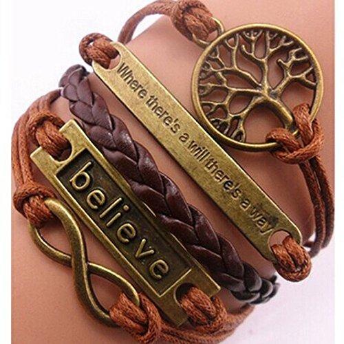 Nurbo Handmade Adjustable Tree For Life Believe Multilayer Bracelet Wristband