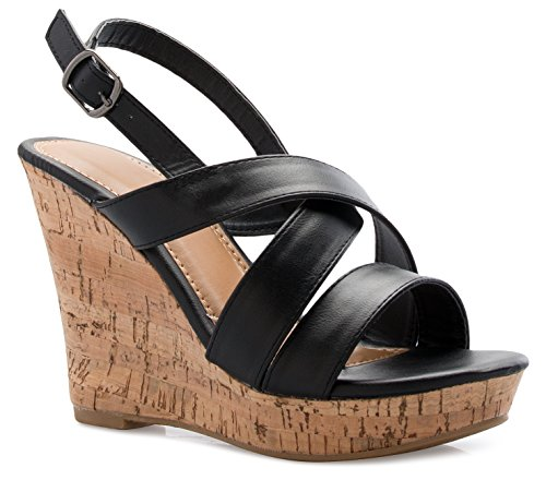OLIVIA K Women's Open Toe T-Straps Strappy High Wedge Heel Wood Decoration Buckle Shoes Sandals,Black Pu,7.5 B(M) US ()