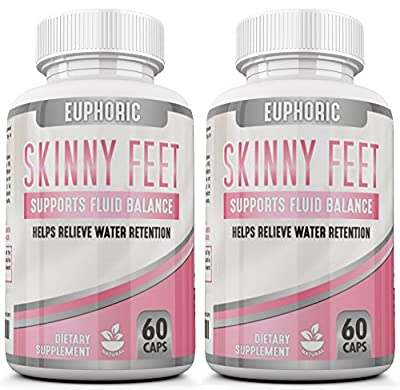 Skinny Feet [ 2 Pack ] Edema Swollen Ankle Leg Supplement Reduces swelling Relieves Bloating Natural Water Pill Diuretic Helps Relieve Achy, Tired or swelling on the Legs, Feet, Calves, Hands, and Water Retention. Promotes Weight Loss.
