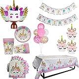 ONION STICKER WEIGAO Unicorn Party Decor Birthday Party Decoration Kids Unicorn Theme Paper Hat Napkins Plate Girl Happy Birthday Gifts Sets (3P Tattoo Stickers 2)