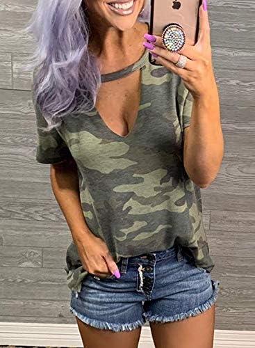 LOSRLY Damska T-Shirt mit Camouflage-/Leoparden-/Schlangen-Print, sexy Schlüssellochausschnitt: Odzież