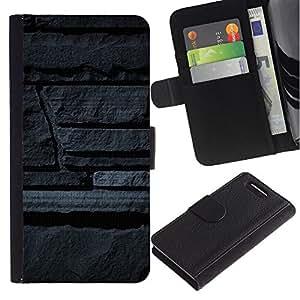 WINCASE ( No Para Xperia Z1 ) Cuadro Funda Voltear Cuero Ranura Tarjetas TPU Carcasas Protectora Cover Case Para Sony Xperia Z1 Compact D5503 - muro de piedra gris arte diseño de la arquitectura