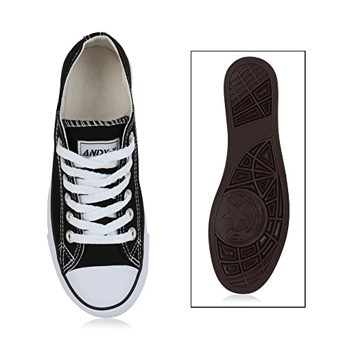 Unisex Schuhe Damen Herren Kinder Sneaker Low Canvas Übegrößen Freizeit Schuhe Turnschuhe Schnürer Schnürschuhe Flandell Schwarz Cabanas Ambler