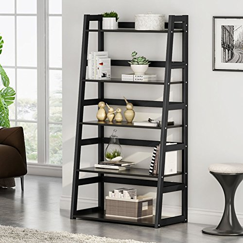- Tribesigns 5-Tier Bookshelf, Free Standing Ladder Shelf with Strong Metal Frame, Ample Space for Storage (black)
