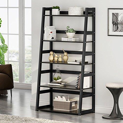 Tribesigns 5-Tier Bookshelf, Freestanding Leaning Ladder Shelf, Ample Storage Space for CD, Books, Home Decor (Black) ()