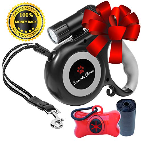Retractable Dog Leash with Bright Flashlight for Small to Medium Breed Dogs, 16 ft Dog Walking Leash, Tangle Free Nylon Cord, Comfortable Grip, One Button Brake & Lock, Dog Waste Dispenser & Bags Incl (Leash Light)