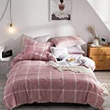 CoutureBridal Twin Duvet Cover Pink Gingham Cotton Girl Checkered Geometry Print Patterned Modern 3 Pieces Bedding Comforter Cover Set,1 Duvet Cover 1 Pillowcase