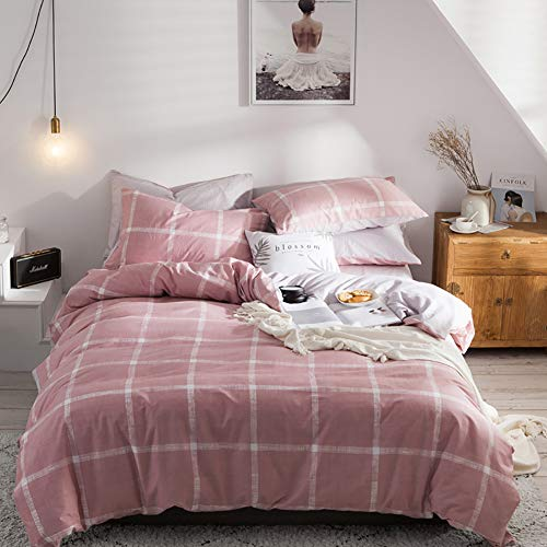 CoutureBridal Buffalo Check Duvet Cover Set King Pink Cotton Adult Gingham Geometric Printed Patterne Modern College 3 Pieces Bedding Set,1 Duvet Cover 2 - Duvet Rouge Covers