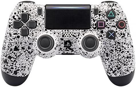 eXtremeRate Textured White Faceplate Cover, 3D Splashing Front Housing Shell, Comfortable Non-slip Replacement Kit for Playstation 4 PS4 Slim PS4 Pro Controller (CUH-ZCT2 JDM-040 JDM-050 JDM-055)