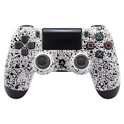 (eXtremeRate Textured White Faceplate Cover, 3D Splashing Front Housing Shell, Comfortable Non-slip Replacement Kit for Playstation 4 PS4 Slim PS4 Pro Controller (CUH-ZCT2 JDM-040 JDM-050 JDM-055))