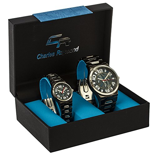 """Charles Raymond """"Big Digit Chronograph Look"""" His and Hers Watch Set with Hematite Metal Band & Blue Face"""