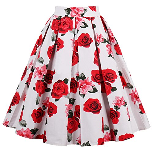 A Rtro Plisse Style Floral Nibesser Line Rouge Imprime Jupe Midi Jupe Vintage Galaxy wOdFqY4x