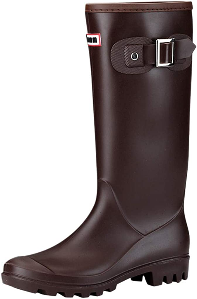 Womens Knee High Round Toe Buckle Slouched Waterproof Low Heel Boots