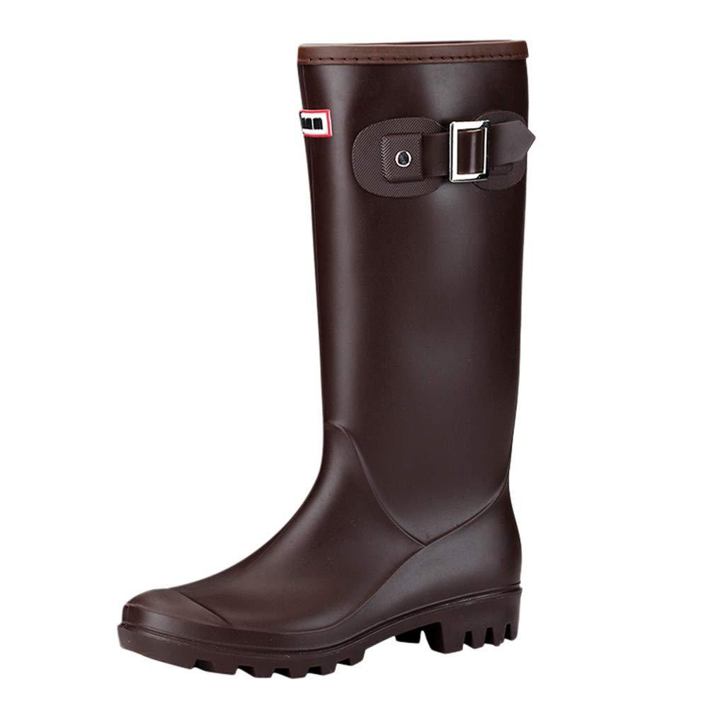 Women Shoes HOSOME Women Fashion Leisure Low-Heeled Round Toe Shoe Waterproof High Tube Rain Boots Brown