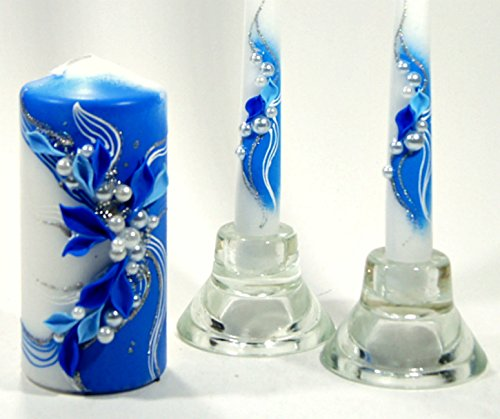 Magik Life : Unity Candle Set |Decorations for Wedding |Outdoor |Bar |Restaurant |Party Home| Birthday |Wedding Settings |Ceremony Ideas Party (Blue with Flowers) by Magik Life