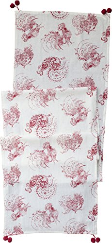 (April Cornell Red Backyard Rooster Table Runner)