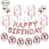 Party Balloons Decoration Rose Gold, Set 12 inch Rose Gold Confetti Birthday Decor Party Supplies Rose Gold Party Kit Banner Rose Gold Confetti Balloons Set Star Mylar Cute for Girls Pink
