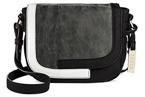 Cesca Womens Cross Body With Flap Over  Black Grey White