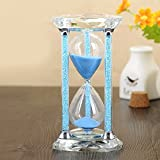BORWAY 30 Minute Hourglass Timer, Heart-Shaped Glass Sand Timer with Sparkling Pillars, Eye-Catchy Blue Sands Clock for Home, Kitchen, Office, Décor, Gift Package (30 Min, Blue)