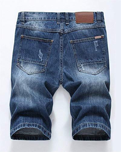 Summer Jeans Classiche Fit Corti Di Ragazzi Casual Uomo Retro Pantaloncini Da Blau Hole Slim Nge Stile Fashion Rt wzXq7ncCvW