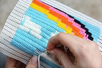 Size Easier Than Cross Stitch Sozo Eco Friendly Package That Turns into a Display Frame Colorful DIY Needlepoint Embroidery Craft Kit for Beginners ASTRONAUT 8 x 8