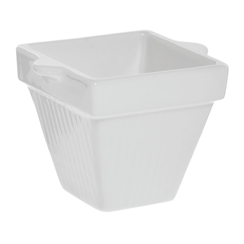 Tablecraft Coated Aluminum Country Kitchen Collection Square White Bowl - 4'' L x 4'' W x 4'' H