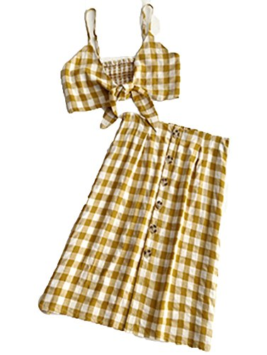 2018 Summer Women Sets Checked Plaid Print Crop Bohemian Beach Casual Two peices Set Self-tie Suits,Yellow,L