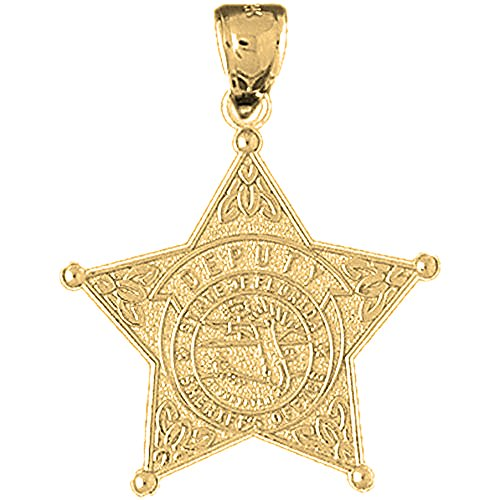 Jewels Obsession State Of Florida Sheriff's Dept. Charm Pendant | 14K Yellow Gold State Of Florida Sheriff's Dept. Pendant - 32 mm