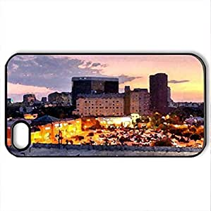 empty parking lot - Case Cover for iPhone 4 and 4s (Skyscrapers Series, Watercolor style, Black)