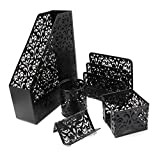 EasyPAG 5 in 1 Desk Organizer Set Hollow Flower Pattern Design- File Holder,Letter Sorter, Pen Holder,Business Card Holder and Stick Note Holder -Black