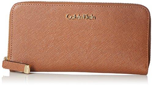 Calvin Klein SaffiaNo Zip Continental Wallet, Brown, One Size