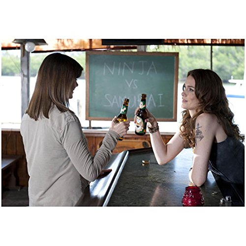 Bones (TV Series 2005 - ) 8 inch by 10 inch PHOTOGRAPH Emily Deschanel & Beautiful Brunette About to Clink Beer Bottles kn