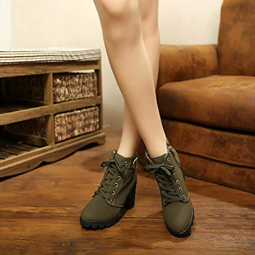 Plateforme La Avec Elegante 35 Noir Basse Femme Hiver Vert De Bottines Fashion Rouge Joyto Cuir Lacer 41 Kaki Confortable Velours Automne Talon Cm Boots 8 Fourrure A 6IH4xTq