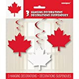 Canada Day Leaf Hanging Swirl Decorations - Canada Day Party Supplies - 3 per Pack - From Fun365