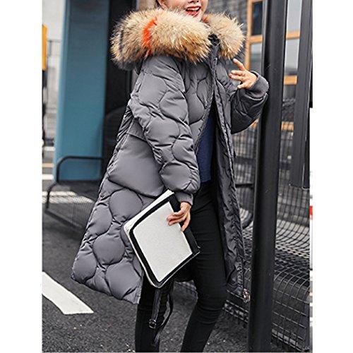 Femme Capuche Fourrure avec de Manteau Longue Doudoune de Gris Chaud Hiver Duvet HANMAX Grande en Coton Coton Taille xIzqvv1