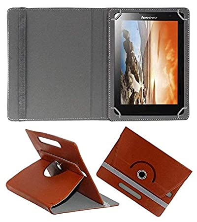 Hello Zone 360 Rotating 7 Inch Flip Case Cover Book Cover for Lenovo Tab 3 7.0  Brown